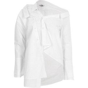 Wit deconstructed overhemd met lange mouwen