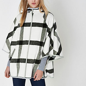 White oversized check cape high neck jacket