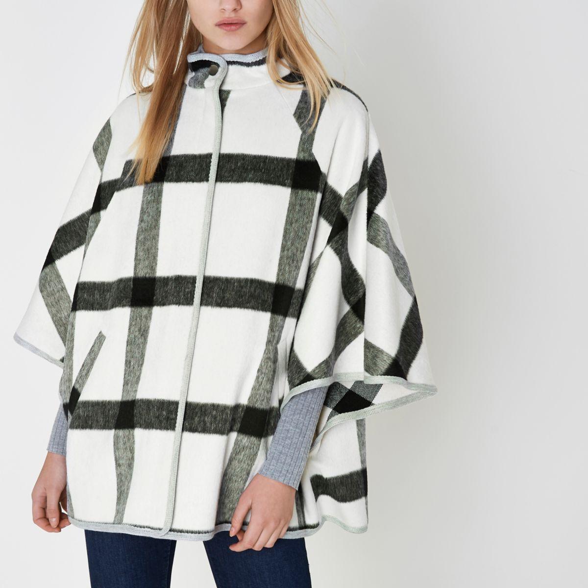 White oversized check cape high neck jacket