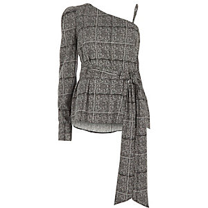 Grey check one shoulder puff sleeve top