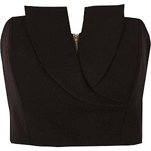 Black tux bandeau crop top