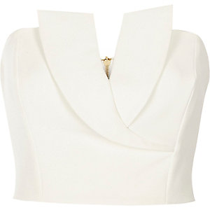White tux bandeau crop top