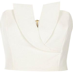 Witte nette bandeau crop top