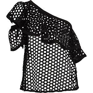 Black crochet lace one shoulder top