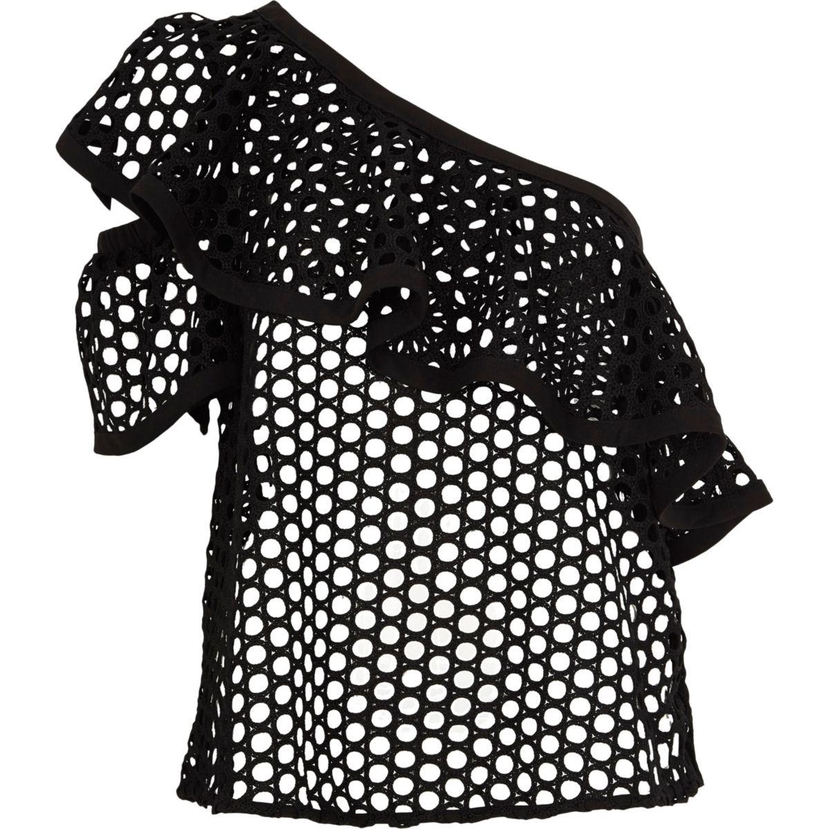 Zwarte gehaakte top met blote schouder voor meisjes