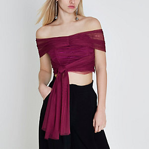 Dark pink tulle wrap bandeau crop top