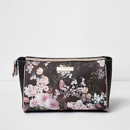 Black floral print make-up bag