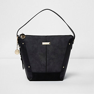 Black panel underarm bucket bag