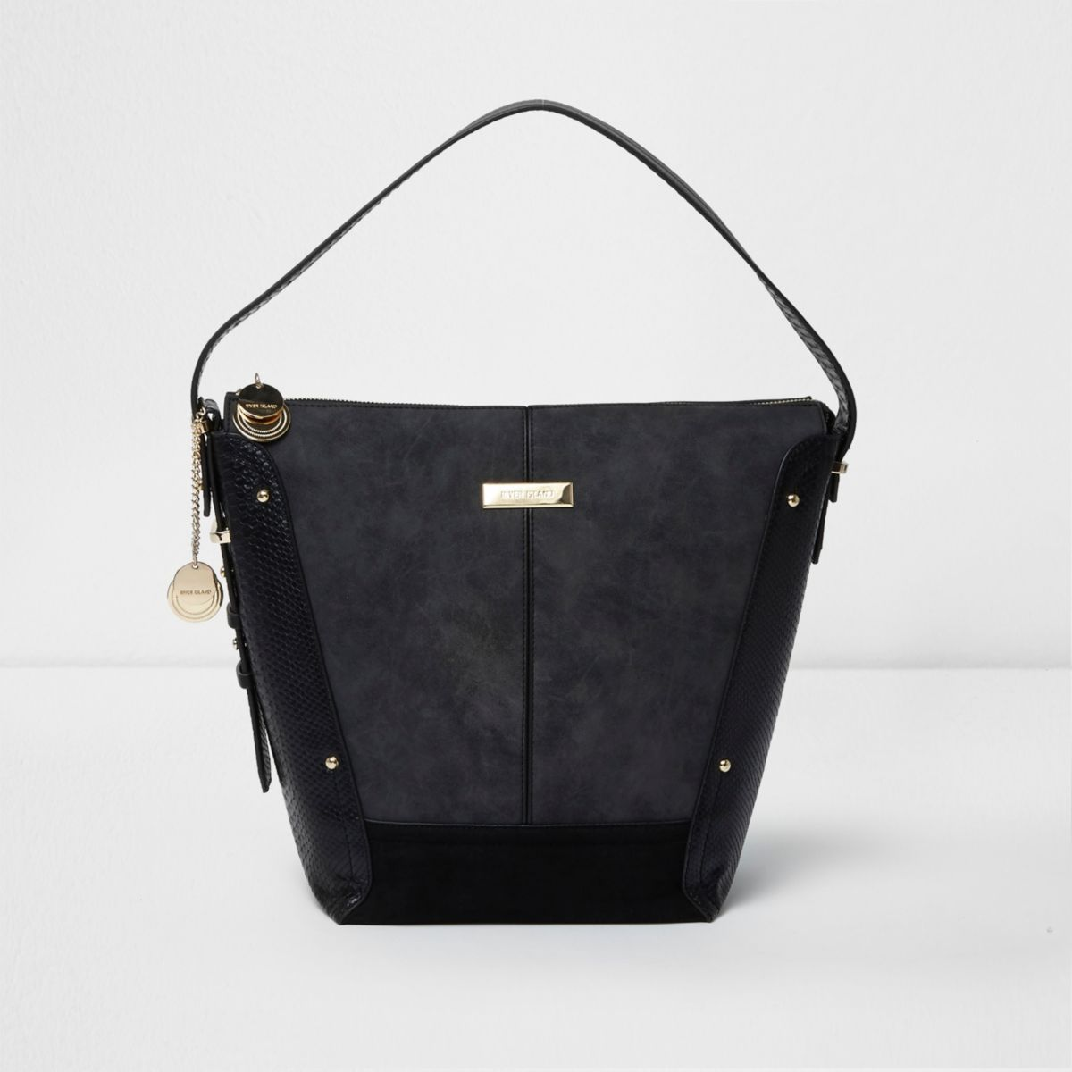 Black panel underarm bucket bag