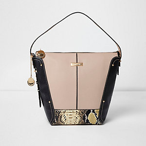 Light beige snake panel underarm bucket bag