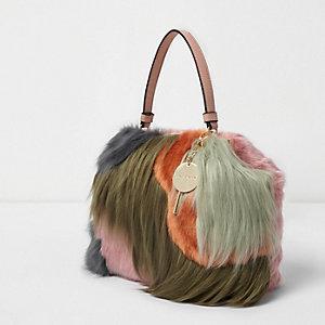 Green faux fur colour block tote bag