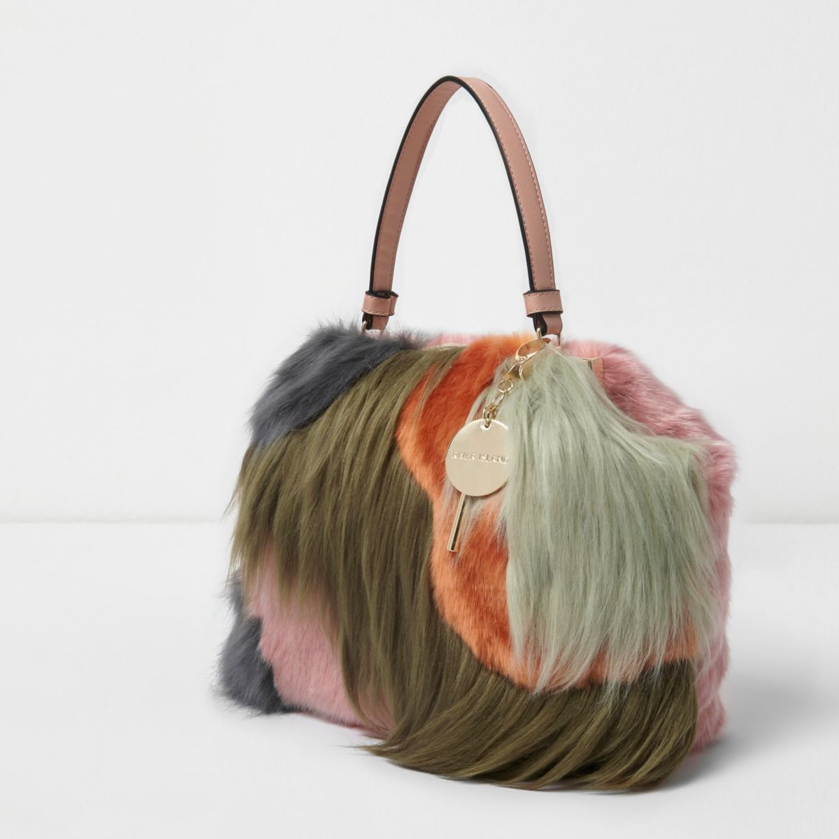 Green faux fur color block tote bag
