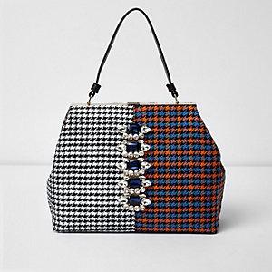 Orange check panel gem embellished tote bag