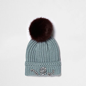 Light green pom pom diamante beanie hat