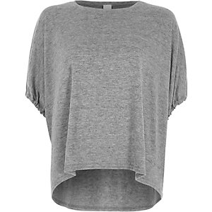 Grey drawstring short sleeve knit top