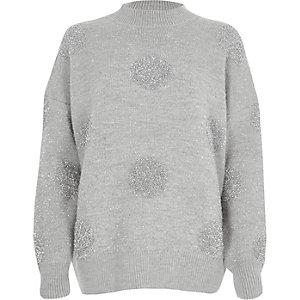 Grey glitter spot Christmas jumper
