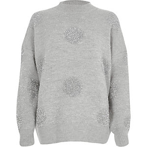Grey glitter spot Christmas sweater