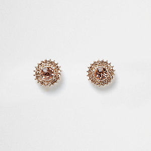 Rose gold tone jewel sunray stud earrings