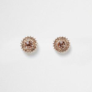 Clous d'oreilles façon or rose à pierres motif rayon de soleil