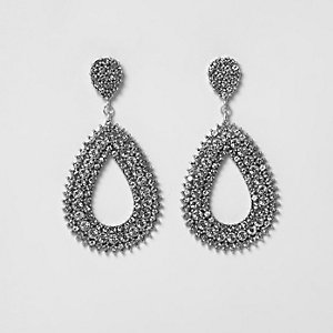 Silver tone rhinestone teardrop hoop earrings