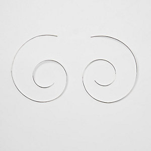 Silver tone swirl hoop earrings