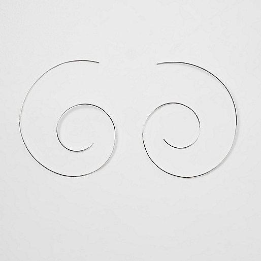 Silver tone swirl hoop earrings