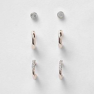 Rose gold tone hoop stud earrings pack
