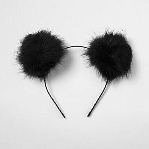 Zwarte haarband met pompon-oren
