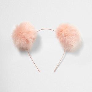 Serre-tête à pompons oreilles rose clair