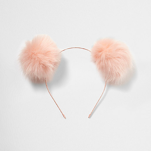 Light pink pom pom ear headband