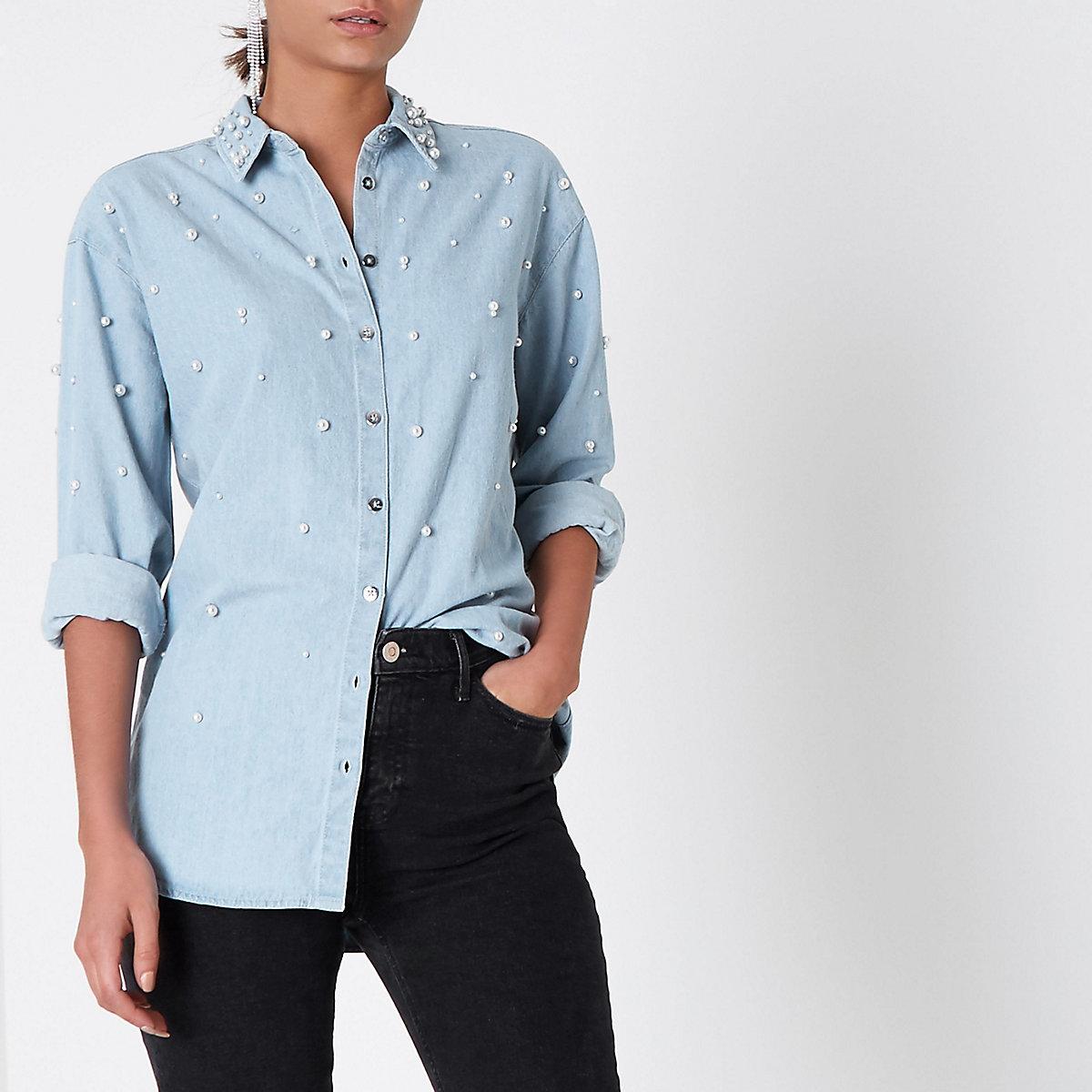 Light blue denim faux pearl embellished shirt