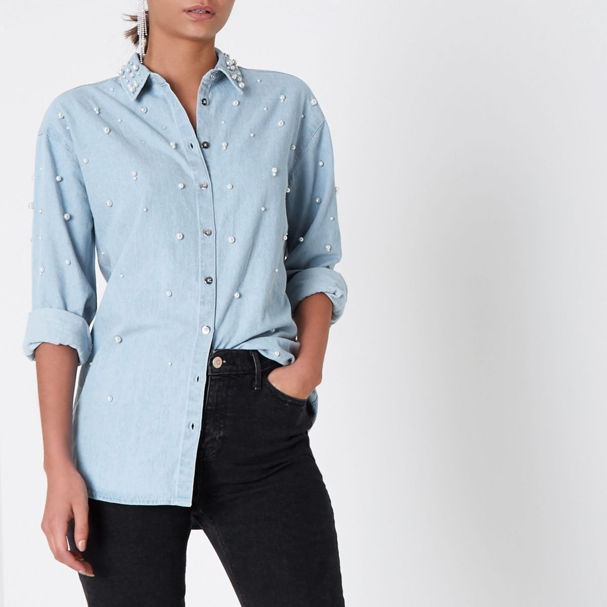 Light blue denim faux pearl embellished shirt shirts for Blue denim shirt for womens