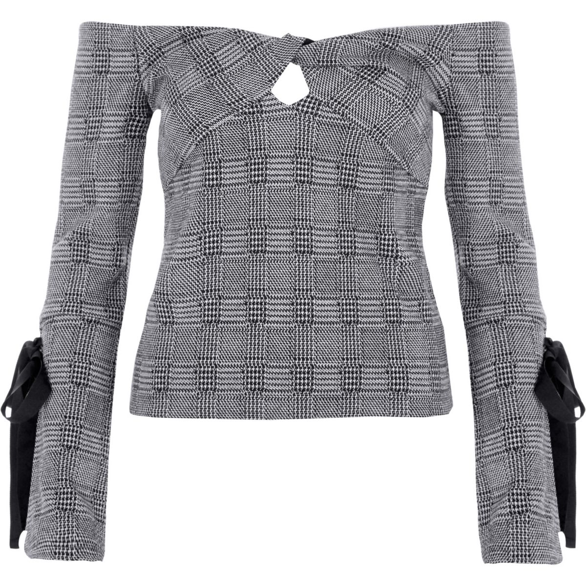 Grey check knot bardot long tie sleeve top