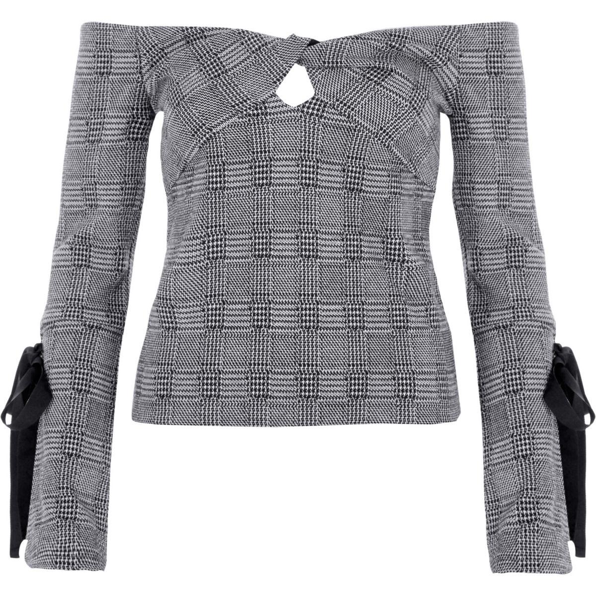 Grey check knot bardot long tie sleeve top