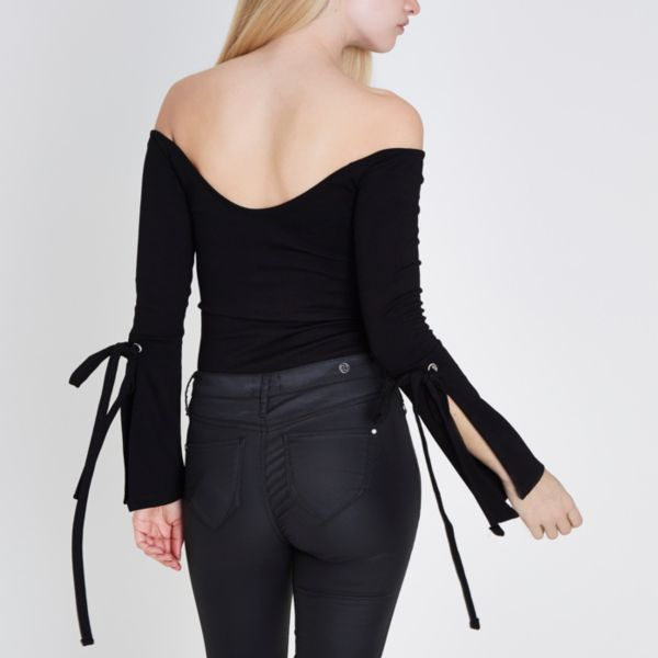 River Island - Black bardot knot front long tie sleeve top - 4