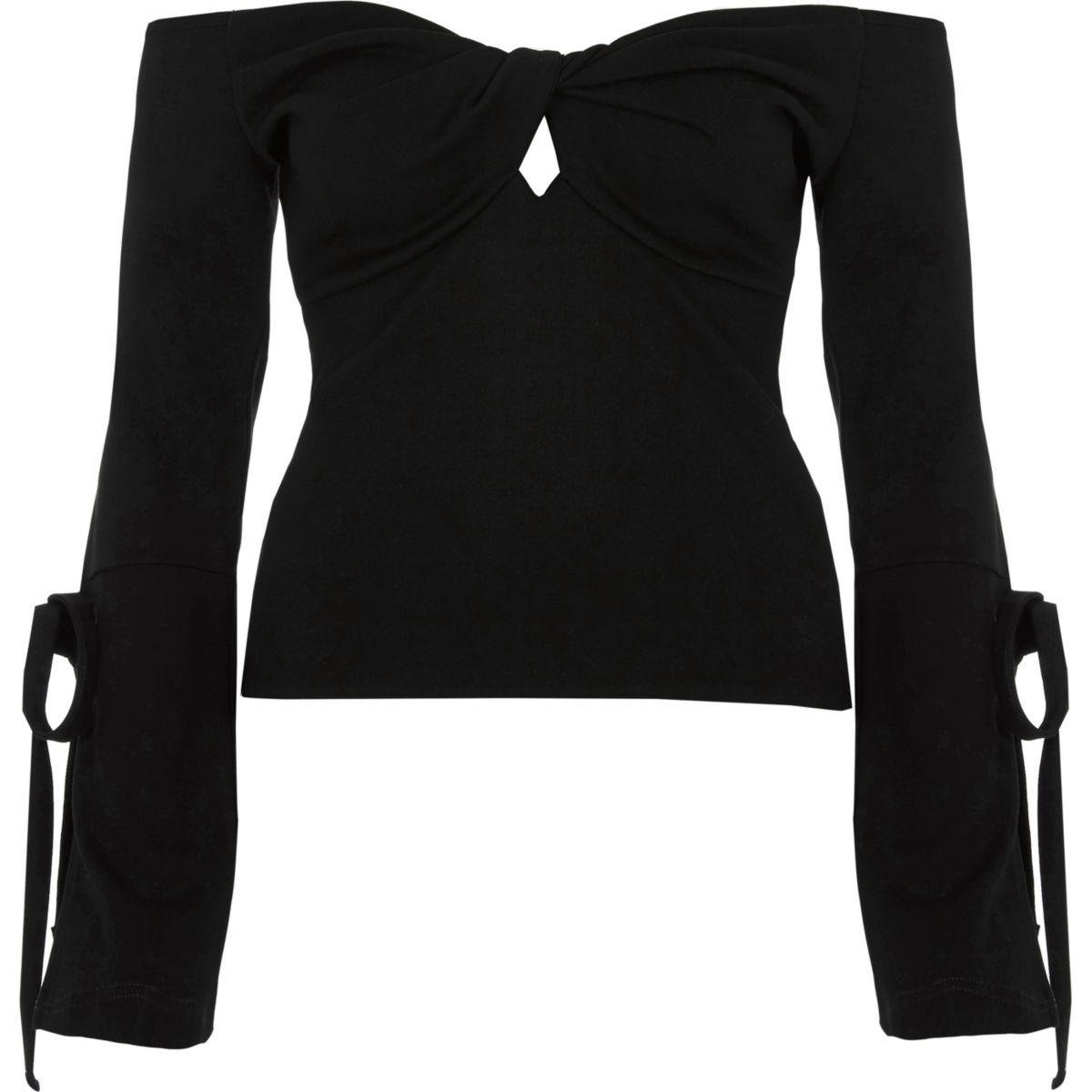 Black bardot knot front long tie sleeve top