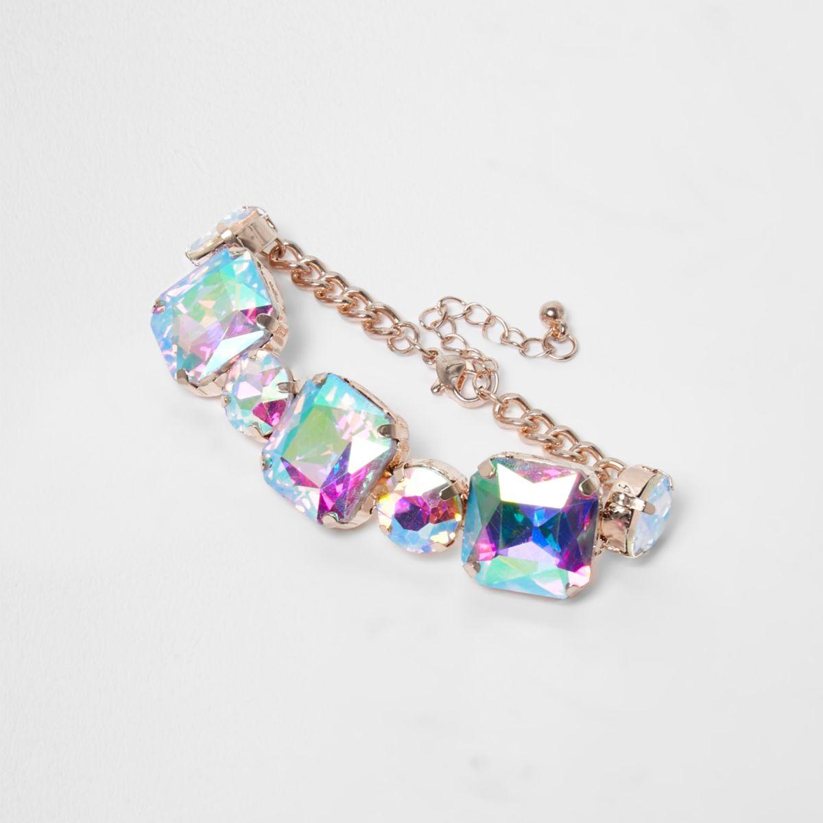 Gold tone chunky iridescent jewel bracelet