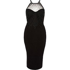 Schwarzes Bodycon-Kleid mit geblümter Spitze