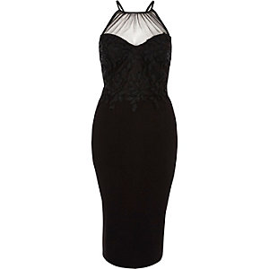 Black floral lace mesh insert bodycon dress