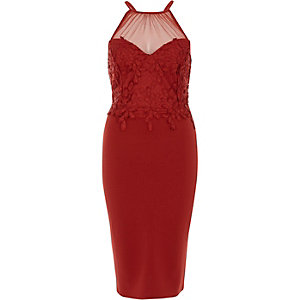 Red floral lace mesh insert bodycon dress