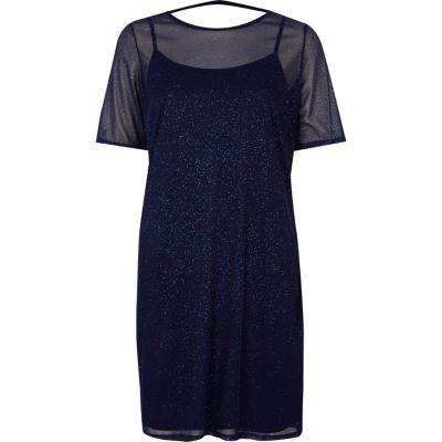 River Island Donkerblauwe T-shirtjurk met mesh en glitters