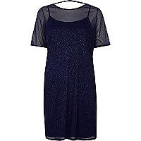 Donkerblauwe T-shirtjurk met mesh en glitters