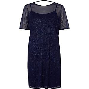 Robe t-shirt en maille bleu foncé à paillettes