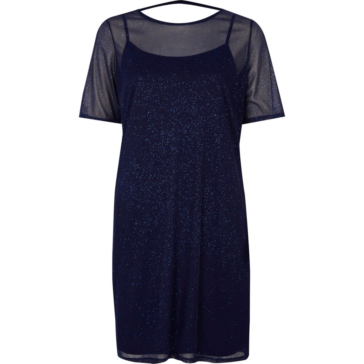 Dark Blue Glitter Mesh T Shirt Dress Dresses Sale Women