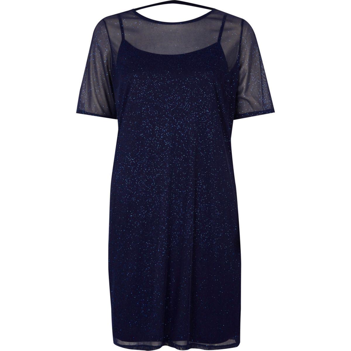 Dark blue glitter mesh t shirt dress dresses sale women for Dress shirts on sale online