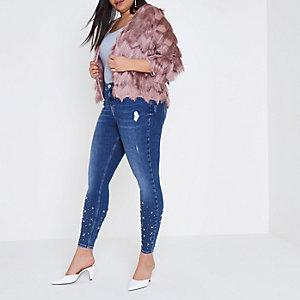 RI Plus - Amelie - Blauwe skinny jeans met verfraaide zoom