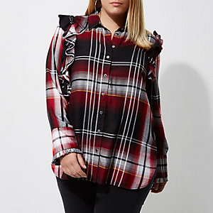 Plus red check frill front shirt