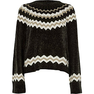 Dark grey Fairisle chenille sweater