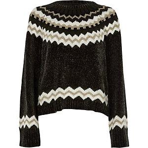 Dark grey Fairisle chenille sweater