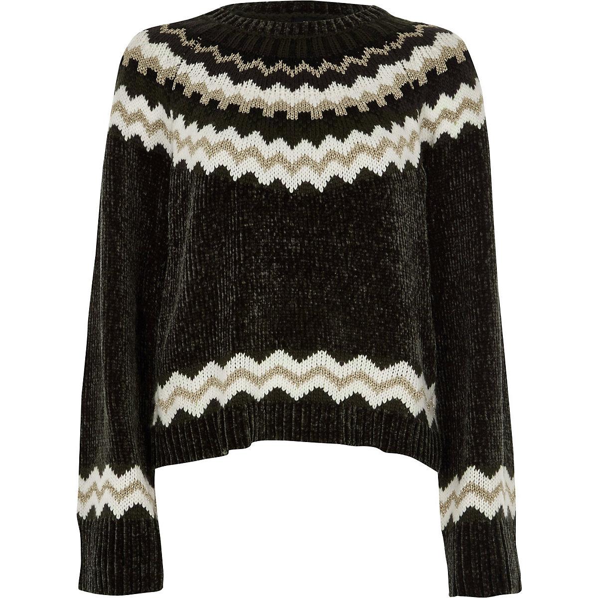 Dark grey Fairisle chenille jumper